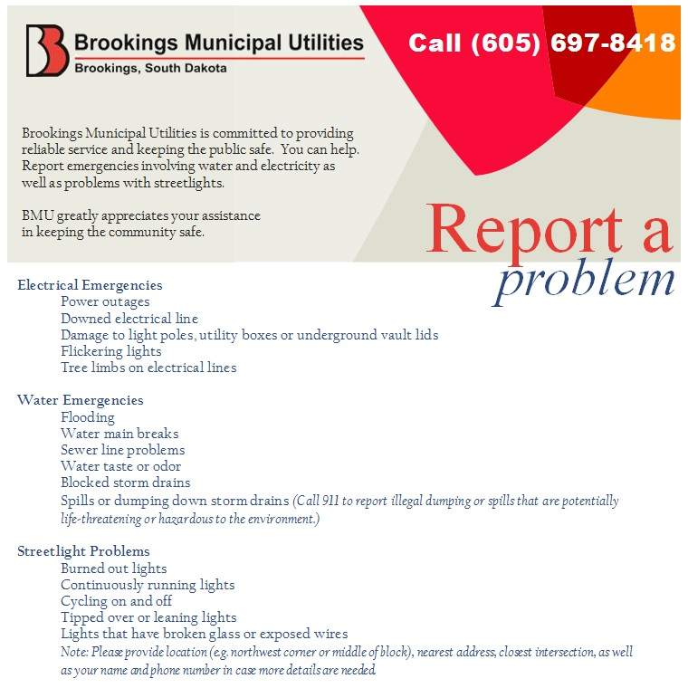 Report A Problem  Brookings Municipal Utilities