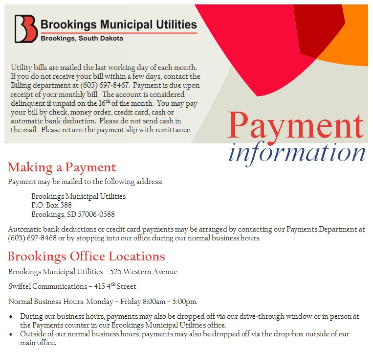 Payment Information « Brookings Municipal Utilities