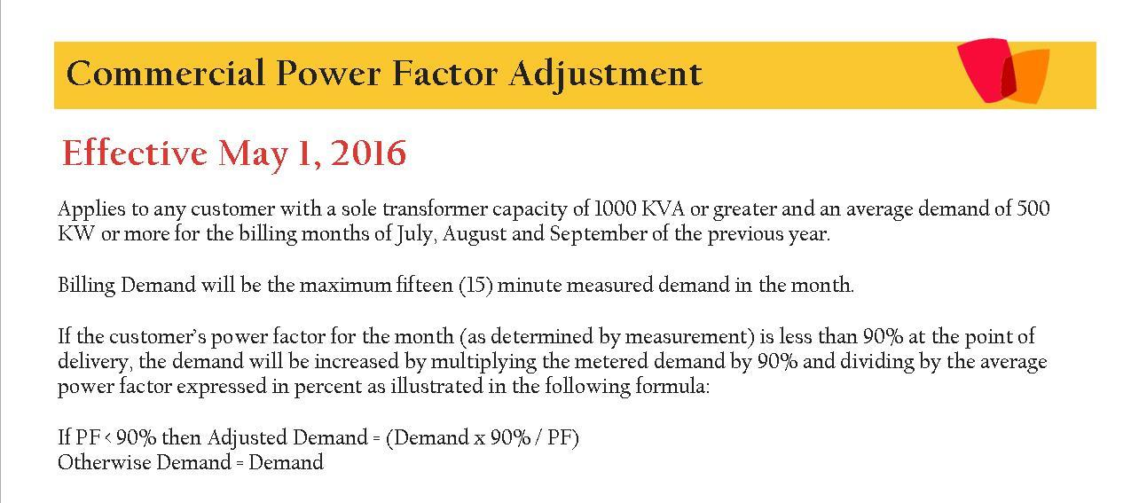 2016 Commercial Power Factor Adjustment