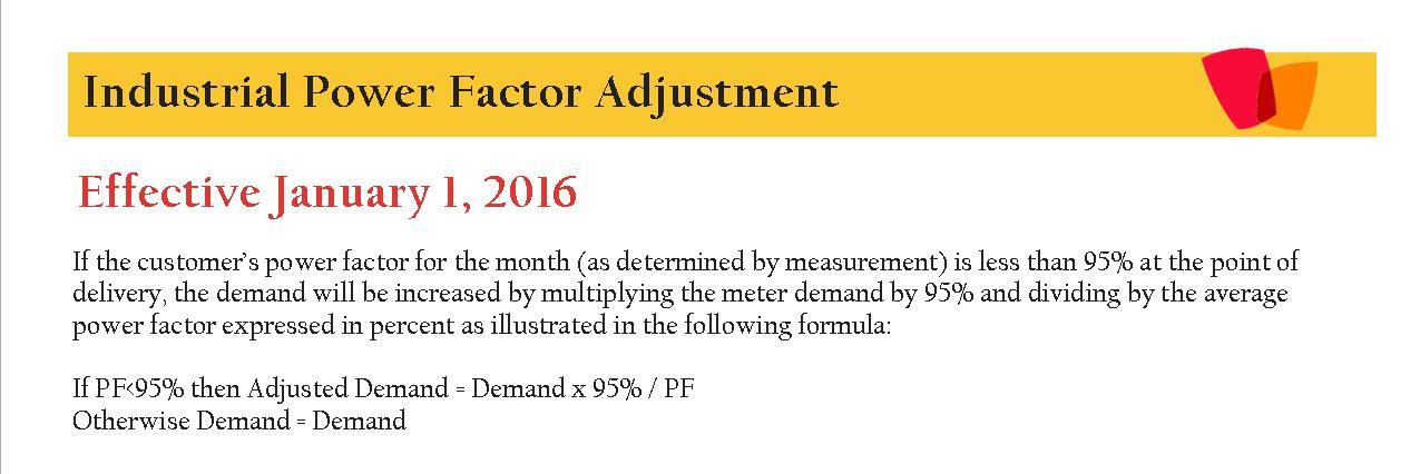 2016 Industrial Power Factor Adjustment